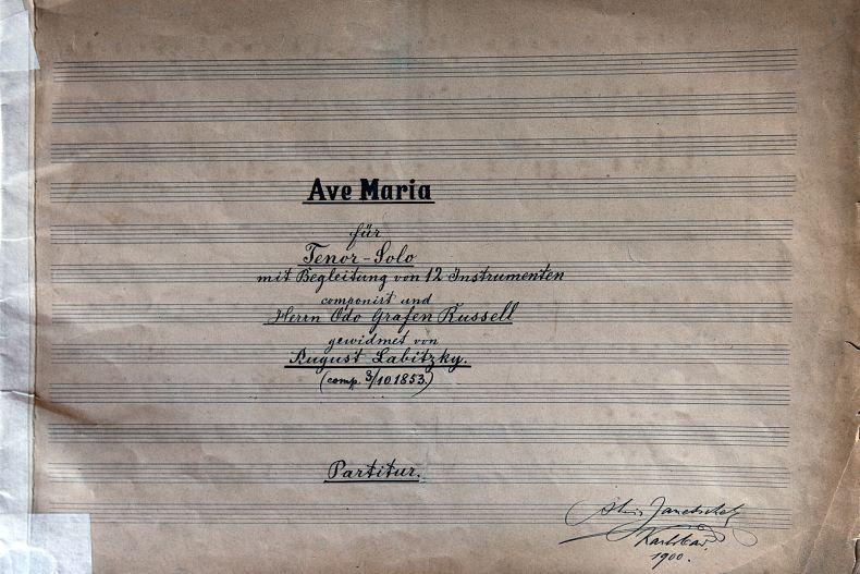 Stará partitura se skladbou Augusta Labitzkého